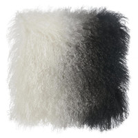 TIBETAN SHEEP PILLOW WHITE TO BLACK