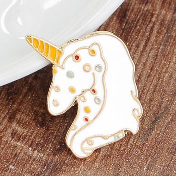 Cute Enamel Animal Unicorn Brooches for Women Girls Vintage Gold Color Wedding Party Lapel Pins Costume Jewelry valentines Gift
