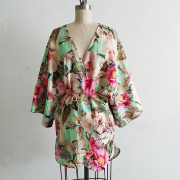 Linen Floral Kimono Caftan Beach Cover up Swimsuit Pink Mint Handmade