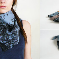 Hand Painted Bandana Scarf In Blue Gray