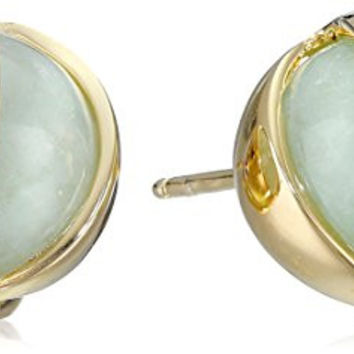 18k Yellow Gold Over Sterling Silver Green Jade Post Stud Earrings