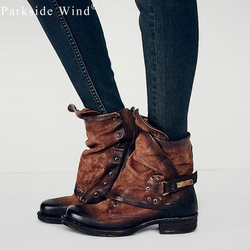 polished women s boots brand pleated shoes for woman pu leather flat ankle boot  number 1