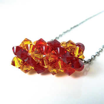 Beaded Swarovski Crystal Bicone Necklace - Beadwork in Red, Yellow and Orange