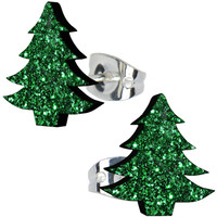 Shamrock Green Glitter Christmas Tree Stud Earrings | Body Candy Body Jewelry