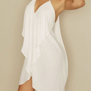 White Deep V-Neck Backless Layered Chiffon Dress