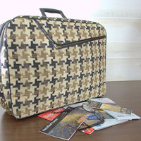 Ladies Weekend Bag, Geometric Print Laptop Carrying Case,  Vintage Tweed Suitcase, Retro Print Carry On Luggage