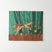 Autumn Wolf Tapestry