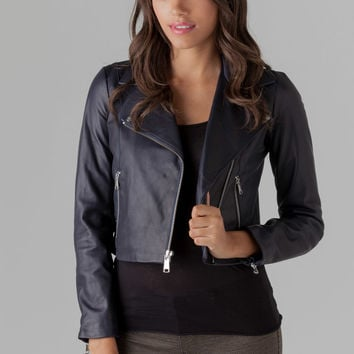 ANDREW MARC Caitlyn Leather Jacket in Navy