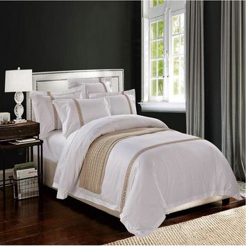 White Embroidered Hotel duvet cover luxury 4pcs Satin Cotton Wedding bedding set bed linen pillowcase flat sheet queen king size
