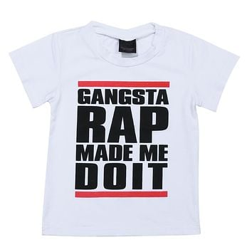 Boy Girls Short Sleeve T-shirt Gangsta Rap Kids Toddler Baby Boys T-Shirt Clothes Letters Print Tops For Children Clothes