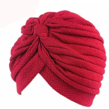 Solid Wrinkle Chevron Indian Turban Hats Cap Hijab For Ladies