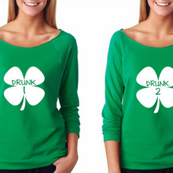 Drunk 1 and Drunk 2 Shamrock Shirt Raw-Edge 3/4-Sleeve Raglan Shirt - St. Patty's Shirt - St. Patrick's Day - Green - Don't Pinch Me