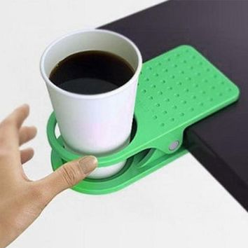 Coffee Cup Clip Table Desk Side Cup Clip Saucer Green