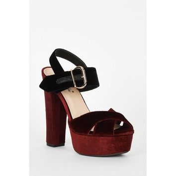 Burgundy And Black Velvet Block Heel Platform Sandals