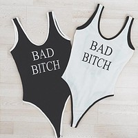 2017 New BAD BITCH Low Backless One-Piece Women Sexy Bodysuit Femme Bathing Suit Playsuit Jumpsuits High Cut