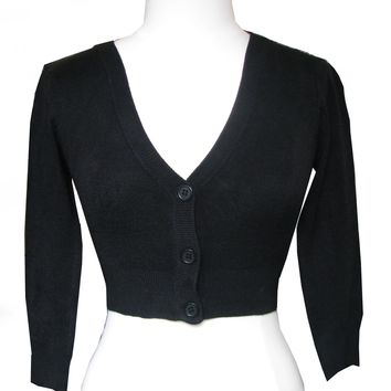 Jet Black Cropped V-neck Cardigan Sweater Pinup