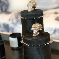 Cowhide and Chrome Skull Container