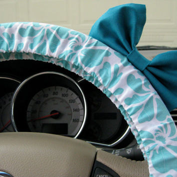 The Original Aquamarine Blossoms Steering Wheel Cover with Matching Teal Bow