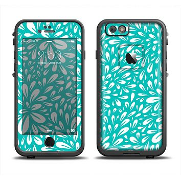 The Teal and White Floral Sprout Skin Set for the Apple iPhone 6 LifeProof Fre Case