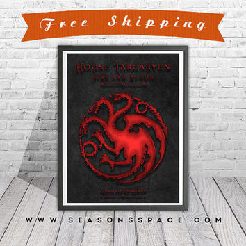 Game Of Thrones art print. House Targaryen poster. Daenerys Targaryen. Dragons art.  Handmade poster.