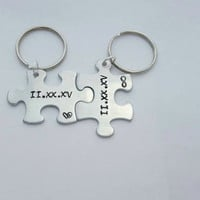 Couple keychains - date keychains - roman numerals - personalized keychains for couples - custom keychains - couples gifts - boyfriend gift