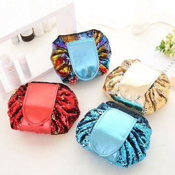 Magic Sequined Convertible Drawstring Cosmetic Bag