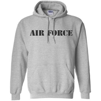 UNITED STATES AIR FORCE: TRADITIONAL BLOCK LETTERS :: G185 Gildan Pullover Hoodie 8 oz.