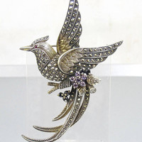 Sterling Silver Marcasite Bird Brooch. Bird Of Paradise Marcasite Gemstone Brooch. Figural Marcasite Jewelry.