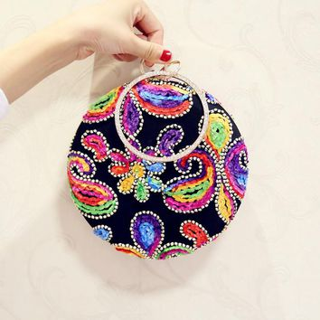 Bohemian Style Round Women Handbags Rhinestones Metal Fashion Lady Embroidery Evening Clutch Party Purse Bag