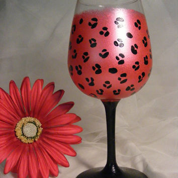 painted pink leopard wine glass with black stem by DelightfulFinds