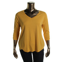 Style & Co. Womens Plus Knit V-Neck Casual Top