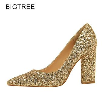 BigTree New Wedding Shoes High Heels Gold Silver Women Pumps 2018 Special Sequins Stable Thick Heel Pointed Toe Female Size34-39