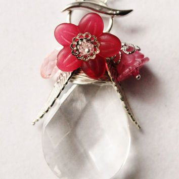 Pink Crystal Charm Lariat Necklace - Clear Chandelier Crystal with Silver Wings, Pink Flowers and a Light Pink Crystal Briolette