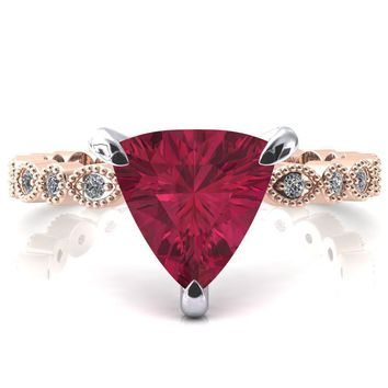 Lizette Trillion Ruby 3 Claw Prong 3/4 Eternity Milgrain Diamond Shank Engagement Ring