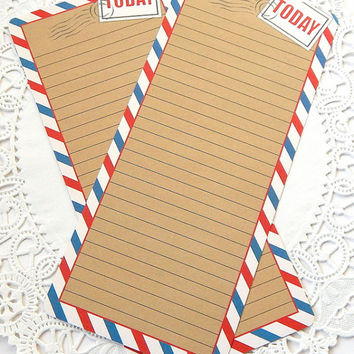 Vintage Inspired Airmail Stationery. Lined Writing Paper. Note Paper. Kraft Brown Paper. Travel Journal. Junk Journal Paper. Memo Sheets.