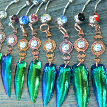 jewel beetle wing belly ring CHOOSE1 abalone amethyst in beach summer moroccan belly dancer indie gypsy boho and hipster style