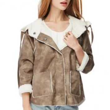 Rebellious Hearts Faux Suede Shearling Moto Jacket in Brown | Sincerely Sweet Boutique