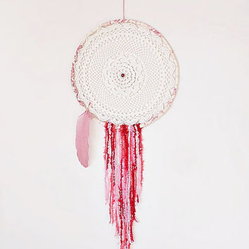 Dream catcher, pink, rose, white, crochet doily, wall hanging, large dreamcatcher, handmade, bedroom decor, doily dreamcatcher, boho bedroom