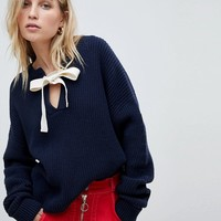 Whistles Tie Neck Eyelet Sweater at asos.com