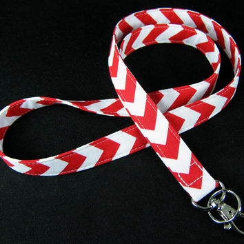Fabric Lanyard - ID Badge and Key Ring - Riley Blake Chevron Small Red and White