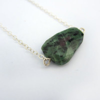 Faceted Gemstone Jewelry, Green Stone Necklace, Genuine Ruby Zoisite Necklace, Dark Green Necklace, Geometric Necklace, Geometric Jewelry