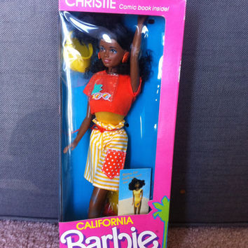 1987 Barbie California Christie Doll, Mattel 4443, Beach style doll, sun visor, African American Barbie, MIB NRFB,