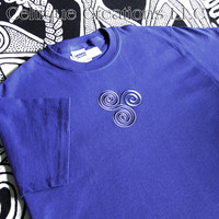 Celtic Spiral Blue T-Shirt Blue and Silver Triskele Embroidery