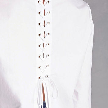 Lace-Up Back Poplin Shirt