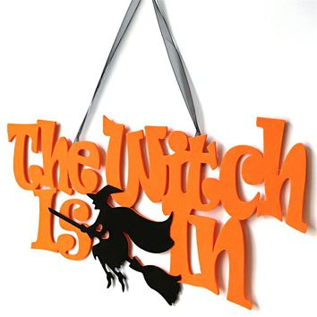 Non-Woven Fribic Halloween Decorations Scaredy Cat Witch Pendant Garland Hanging Door Wall Signs Halloween Party Decor Dropship