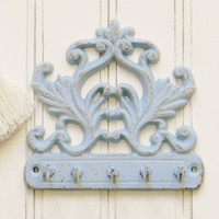 Ornate Cast Iron Key Hook, Choose your Color, Cast Iron Key Hook, Cast Iron Key Rail, Cast Iron Wall Hook, Shabby Chic, French Country