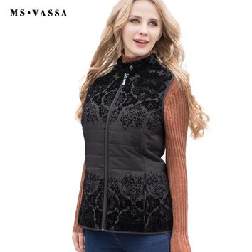 Ladies Vest Autumn Spring New Women waistcoat with flock stand up collar sleeveless jacket