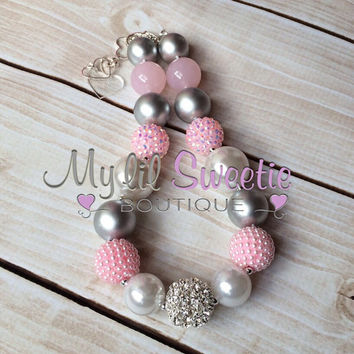 Stunning Light pink  silver gray white chunky necklace, girls jewelry, wedding jewelry, children's necklace, bubblegum necklace