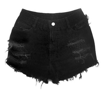 Black High Waisted Denim Shorts - Shredded