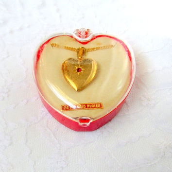 Girl's 24 KG Plated Locket Necklace With Red Jewel Original Case Confirmation First Holy Communion Vintage Collectible Gift Item 2073
